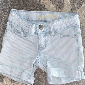 GAP Girls Denim Railroad Stripe Midi Shorts